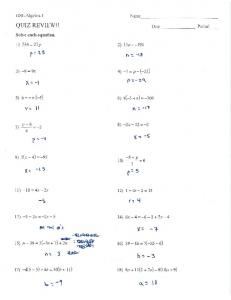 Page 1 GSE Algebra 1 QUIZ REVIEW!! Solve each equation. 1) 756