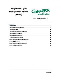 PCMS May 2009 Draft - Concern Worldwide