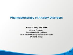 Pharmacotherapy of Anxiety Disorders