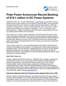 Polar Power Announces Record Backlog of $19.1
