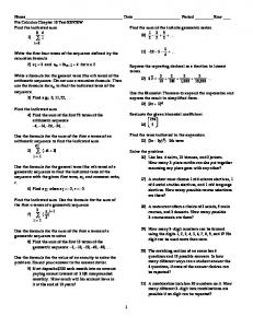 Pre Calculus Chapter 10 Test REVIEW