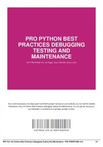 pro python best practices debugging testing and