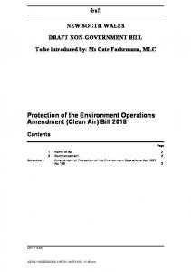 Protection of the Environment Operations Amendment (Clean Air) Bill