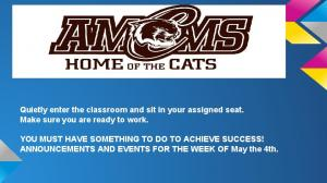 Quietly enter the classroom and sit in your assigned seat. Make sure