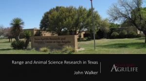 Range and Animal Science Research in Texas John