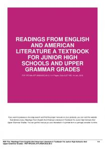 readings from english and american literature a