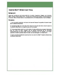 Satellite MScPT Written Exam Policy