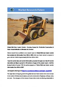 Skid Steer Loader Market Information Report by Application (Infrastructure Sector, Residential Sector) and By Region - Global Forecast To 2022