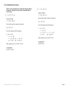 Solve each equation by using the Square Root