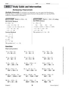 Study Guide and Intervention Multiplying Polynomials