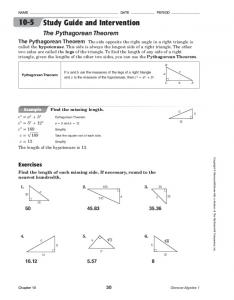 Study Guide and Intervention The Pythagorean Theorem - TeacherWeb