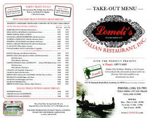 TAKE-OUT MENU - Lomeli's