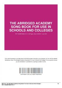the abridged academy song book for use in schools and colleges-pdf