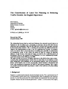 The Contribution of Land Use Planning to Reducing