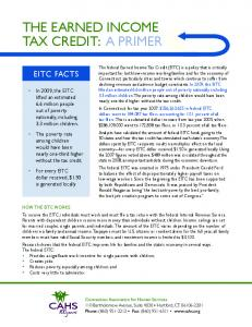 THE EARnED InComE TAx CREDIT: A PRImER