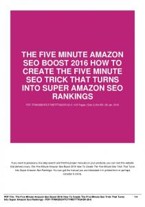 the five minute amazon seo boost 2016 how to create