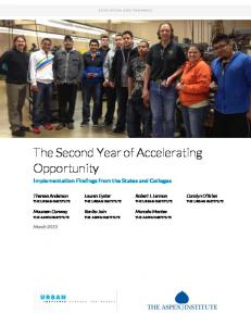 The Second Year of Accelerating Opportunity - Workforce Strategies