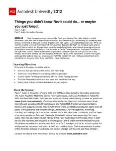 Things you didn't know Revit could do... or maybe you ... - Paul F. Aubin