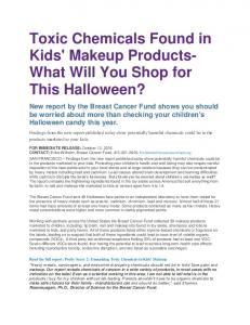 Toxic Chemicals Found in Kids' Makeup Products
