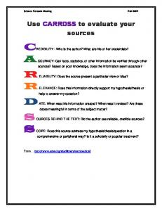 Use CARRDSS to evaluate your sources