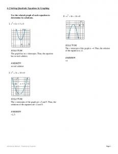 Use the related graph of each equation to