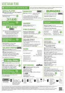 vegetarian MENU - JD Wetherspoon