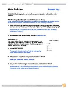 Water Pollution Answer Key