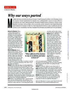 Why our ways parted - Science