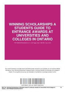 winning scholarships a students guide to entrance