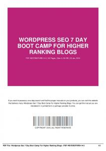 wordpress seo 7 day boot camp for higher ranking