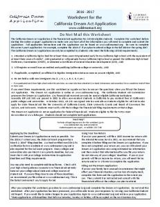 Worksheet for the California Dream Act Application
